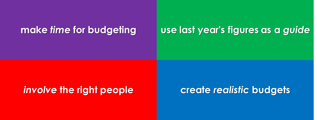 make time to budget, involve the right people, create a realistic budget, use last year as a guide